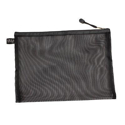 [해외]A4 용지 펜 홀더 지퍼가 달린 메쉬 파일 폴더 가방 블랙 w 스트랩/A4 Paper Pen Holder Zippered Mesh File Folder Bags Black w Strap