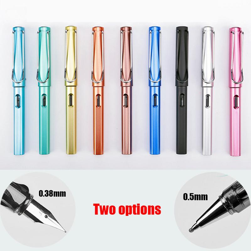 [해외]45pcs / lot 플라스틱 색상 몸 0.38mm 잉크 만년필과 0.5mm 쓰기 용 검정색 잉크 펜 1064/45pcs/lot wholesale Plastic color body 0.38mm ink fountain pen and 0.5mm black ink p