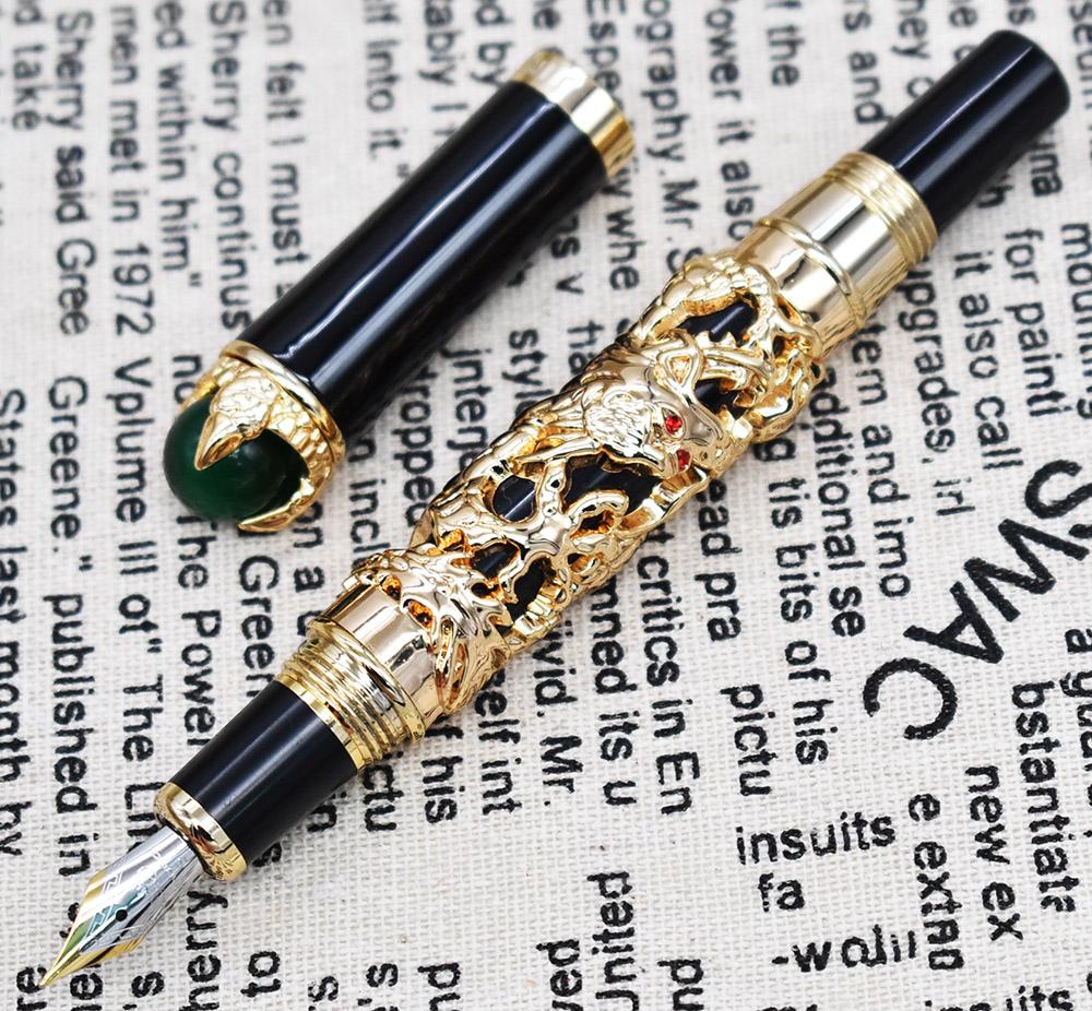 [해외]Jinhao 드래곤 킹 빈티지 만년필, 녹색 보석 금속 엠보싱, 고귀한 황금 컬러 비즈니스 오피스 학교 용품/Jinhao Dragon King Vintage Fountain Pen , Green Jewelry Metal Embossing , Noble Golde