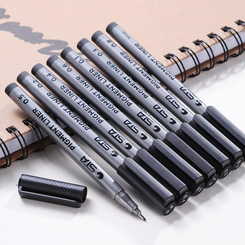 [해외]9Pcs / Set 검은 아트 마커 잉크 펜 안료 라이너 스케치 마커 드로잉 아트 방수 문구 용품 필기/9Pcs/Set Black Art Marker Ink Pen Pigment Liner Sketch Markers Waterproof For Drawing Ar