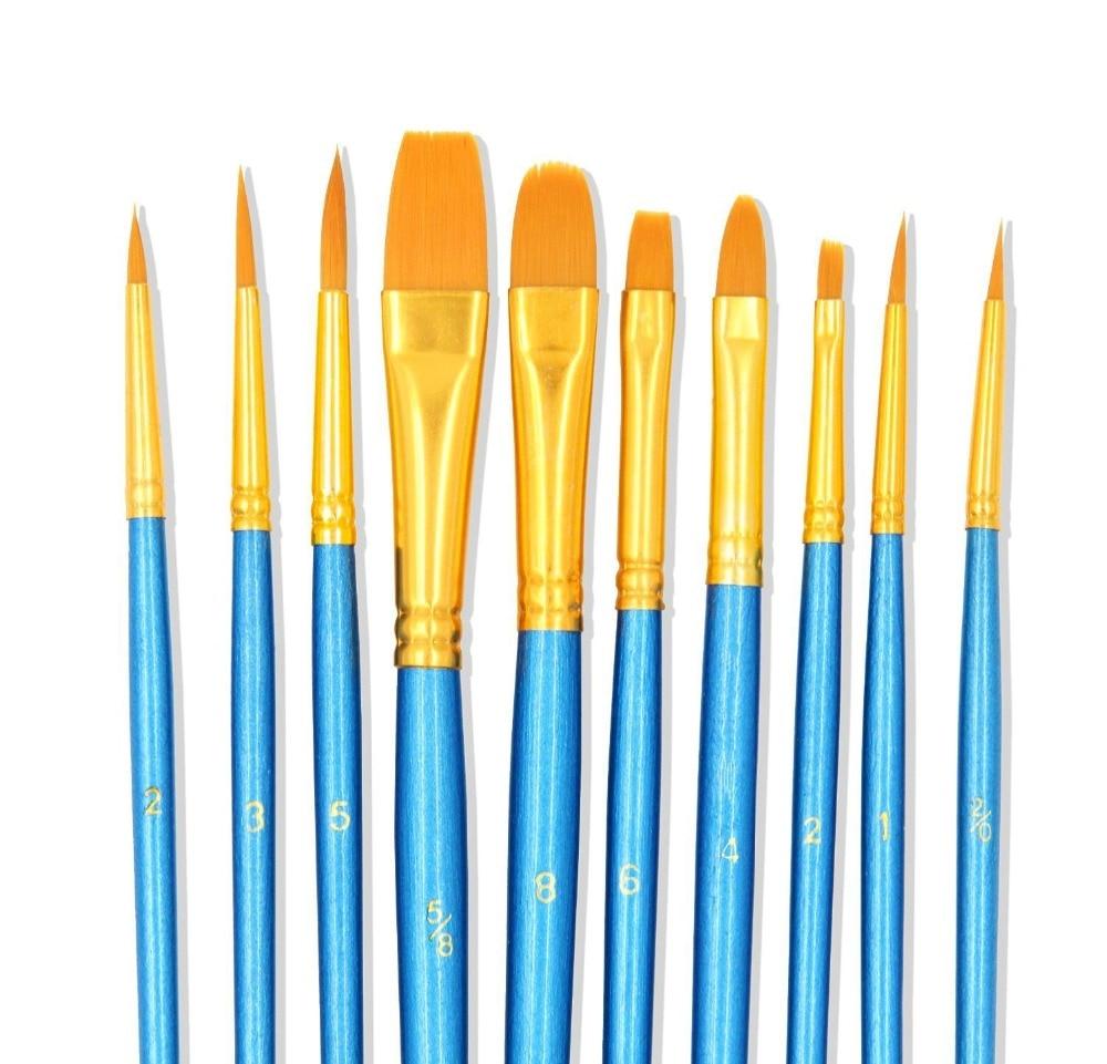 [해외]페인트 브러쉬 10 설정 전문 페인트 브러시 아크릴 수채화 오일 페인트에 대 한 라운드 지적 된 팁 나일론 머리 아티스트 아크릴 브러쉬/Paint Brushes 10 Set Professional Paint Brush Round Pointed Tip Nylon