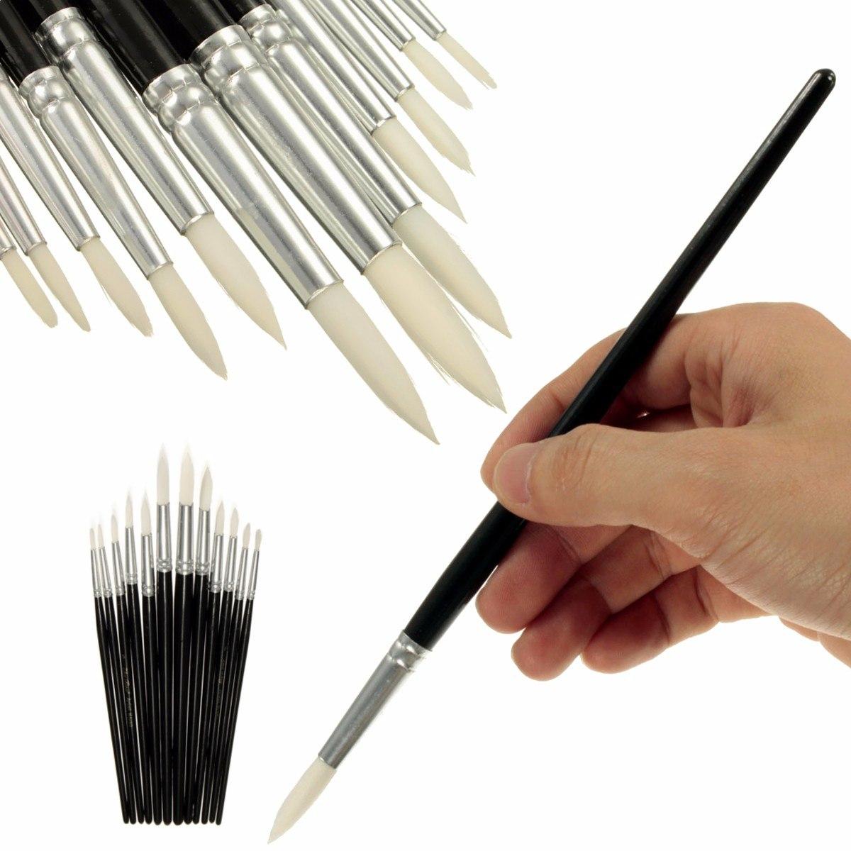 [해외]KICUTE 12pcs 페인트 브러시 아티스트 페인트 화이트 헤어 브러쉬 세트 수채화 물감 아크릴 오일 페인트 브러시 블랙/KICUTE 12pcs Paint Brush Artist Paint White Hair Brushes Set Watercolour Pain