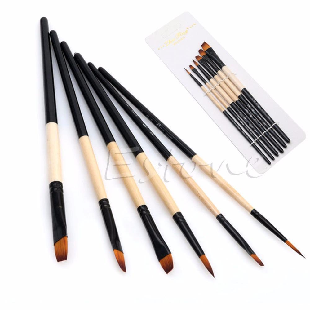 [해외]새로운 Hot 6 PC / 세트 평면 나일론 헤어 페인트 브러쉬 구 아슈 아크릴 오일 페인팅 아트 공예/New Hot 6 Pcs/Set Flat Nylon Hair Paint Brush Gouache Acrylic Oil Painting Art Craft