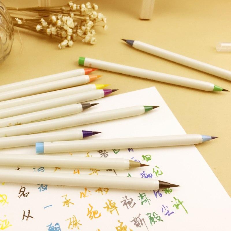 [해외]크리 에이 티브 쓰기 브러쉬 펜 색 달 필기 마커 펜 세트  편지지 드로잉 예술 학교 용품 --- 0330/Creative Writing Brush Pen Color Calligraphy Marker Pens Set Chinese Stationery Drawin