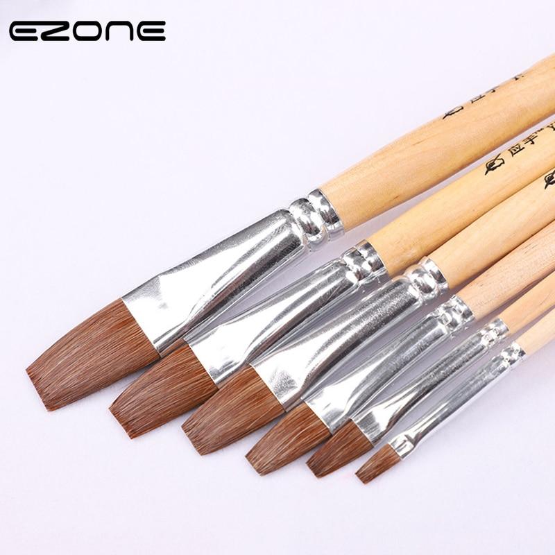 [해외]EZONE 6PCS 페인트 브러시 족제비 나무 어린이 손잡이 브러시 수채화 기름 구 아야 아크릴 회화 학교 사무실 공급/EZONE 6PCS Paint Brush Weasel Hair Wooden Handel Brush For Children Watercolor