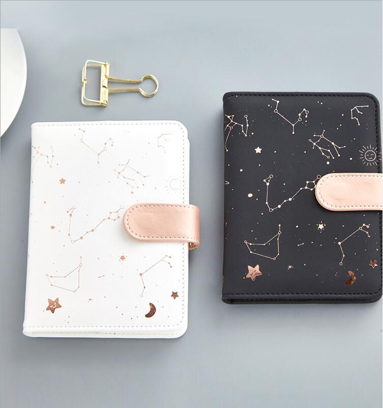[해외]Dilosbu ConstellationLeather Notebook 화이트 블랙 A6 방수 커버 Note Book 일일 플래너 Gift Kawaii School 메모장 공급/Dilosbu ConstellationLeather Notebook White Black