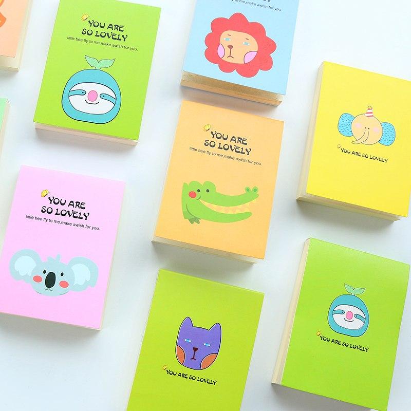 [해외]만화 동물 캔디 컬러 메모장 스티커 메모 북마크 포인트 마커 메모장 스티커 메모 Kawaii Stationery Gift.W-0291/Cartoon Animals Candy Color Memo Pads Sticker Note Bookmark Point Marke