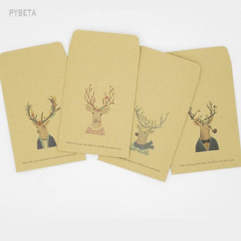[해외]50pcs / lot- 16 * 11cm  스타일 크리스마스 사슴 복고풍 갈색 봉투 엽서 걸릴, 사진 컬렉션/50pcs/lot- 16*11cm The Chinese style Christmas deer retro brown envelope  postcard ta