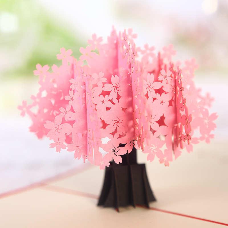 [해외]DoreenBeads 3D 카드 벚꽃 사쿠라 팝업 카드 발렌타인 데이 기념일 웨딩 카드 선물 축복 카드 15 * 15cm 1PC/DoreenBeads 3D Card Cherry Blossom Sakura Pop Up Card Valentine&s Day Anni