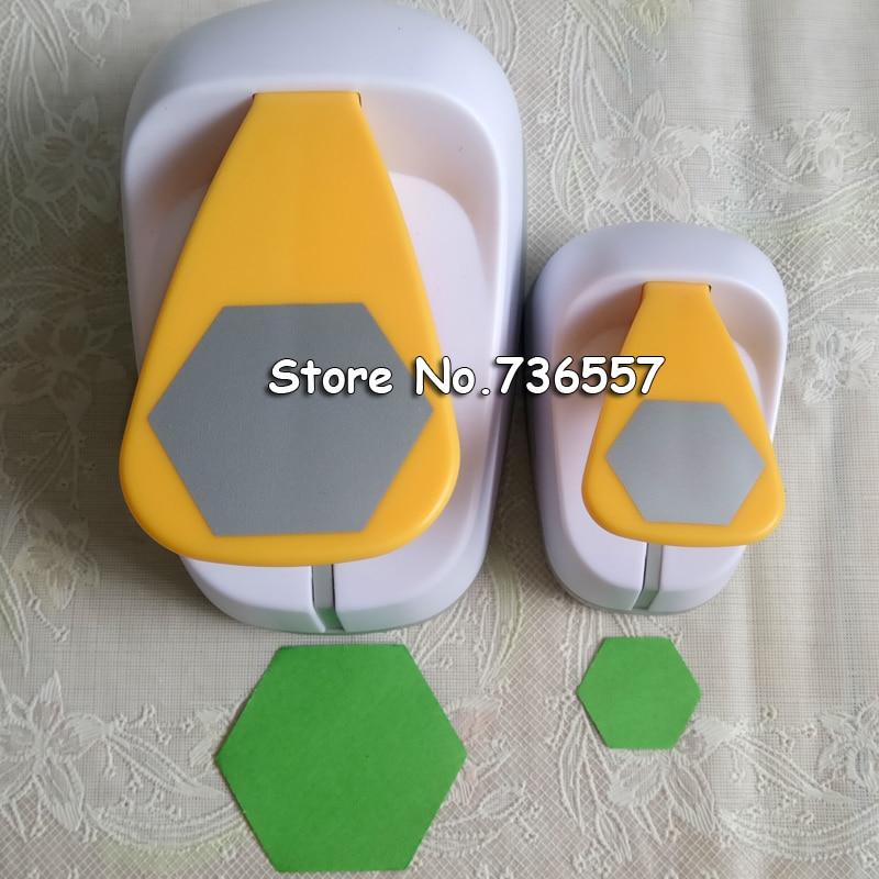 [해외] 2pcs 육각 (1pc 2 & 1pc 1 &) 구멍 펀치 기하학 펀치 공예 스크랩북 종이 펀치 그래프 모양의 펀치/Free ship 2pcs Hexagon (1pc 2& and 1pc 1&) hole punch set Geometry Punch
