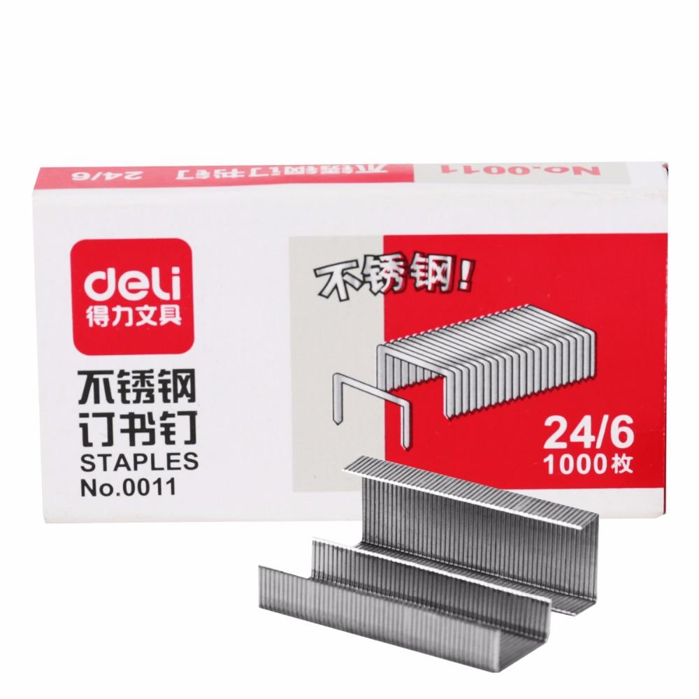 [해외]델리 스테이플러 1000 개 / 상자 24/6 7 * 3.7 * 1.5cm 스테이플러 용지 고정 용 스테이플/Deli staples 1000 pcs/box 24/6 7*3.7*1.5cm Staples for Stapler Paper Binding Stationa