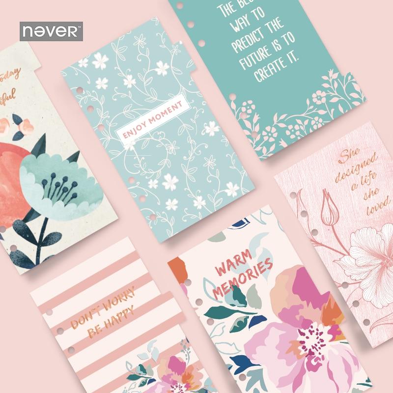 [해외]절대 새로운 6sheets 신선한 꽃 디바이더 플래너 리필 노트 Diy 액세서리 Matching Filofax 크리 에이 티브 귀여운 선물 문구/NEVER New 6sheets Fresh flowers Divider Planner Refill Notebook D