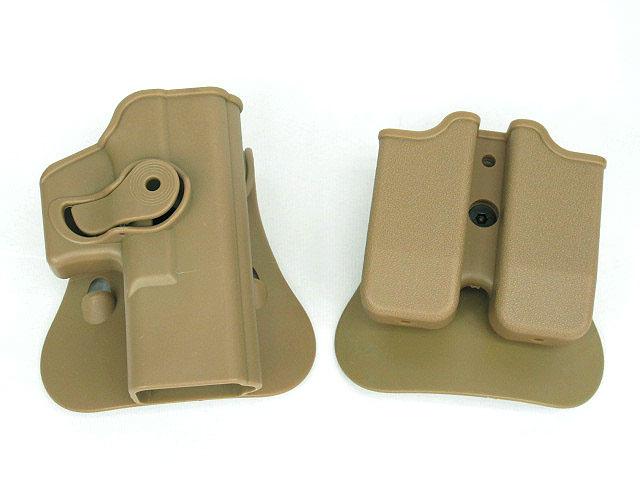 [해외]IMI 스타일 전술 GLOCK 17/19 RH 피스톨 & amp; Magazine Paddle Holster TAN/IMI Style Tactical GLOCK 17/19 RH Pistol & Magazine Paddle Holster TAN