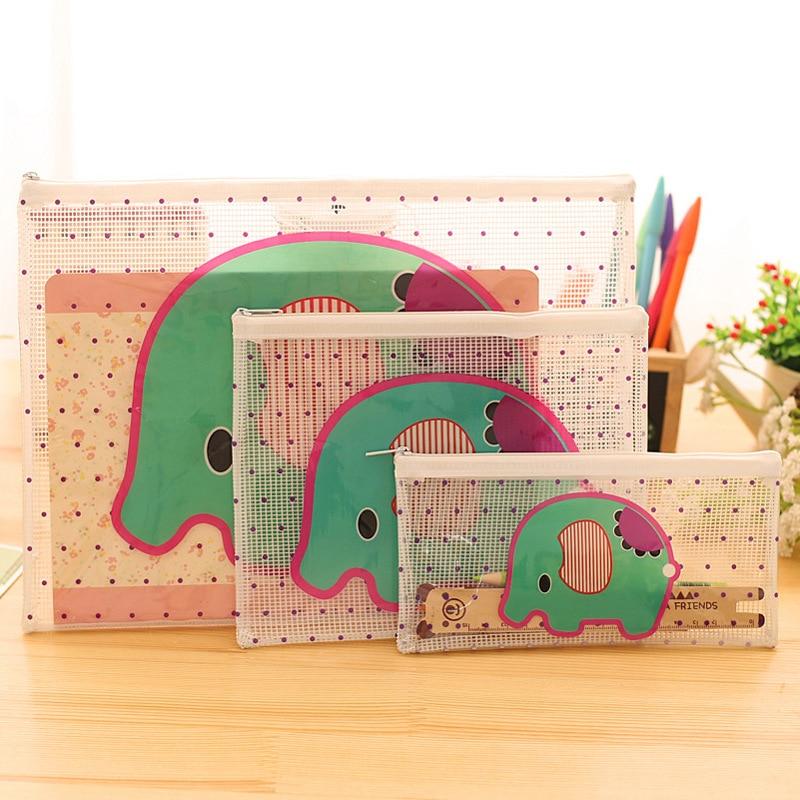 [해외]사무실 학생을3pcs SML PVC 방수 플라스틱 지퍼 종이 코끼리 파일 폴더 책 연필 펜 케이스 가방 파일 문서 가방/3pcs SML PVC Waterproof Plastic Zipper Paper Elephant File Folder Book Pencil P