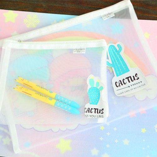 [해외]귀여운 연필 케이스 메이크업 지퍼 포켓 만화 패턴 문서 가방 투명한 편지지 주머니 쿨 파일 Folder.W-0554/Cute Pencil Case Makeup Zipper Pocket Cartoon Pattern Document Bag Transparent St