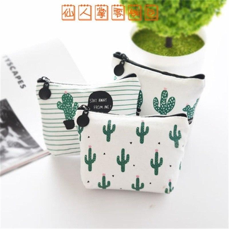 [해외]?3pcs / lot Kawaii 동전 케이스 선물 상자 / 학교 용품에 대 한 작은 캔버스 키 가방 사랑스러운 선인장 지퍼 가방/ 3pcs/lot Kawaii coin case Small Canvas Key Bag Lovely Cacti Zipper Bag f