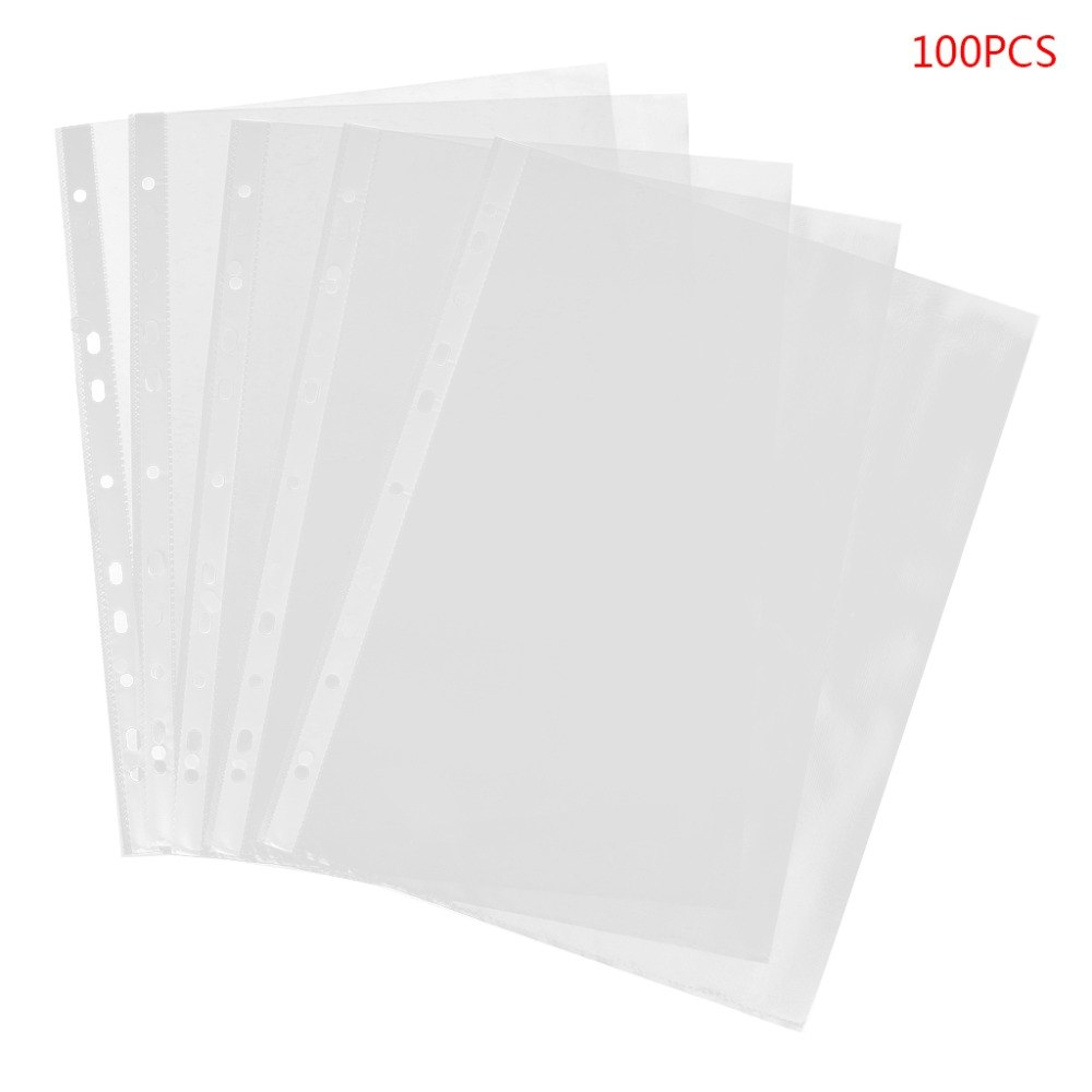 [해외]100pcs A4 투명 천공 파일 저장 문서 폴더 케이스 백 슬리브/100pcs A4 Transparent Perforated File Storage Document Folder Case Bag Sleeves