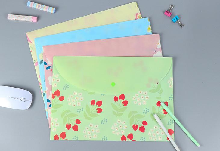 [해외]4pcs 귀여운 botones 파일 폴더 문서 A4 파일링 가방 학교 사무실 폴더 파일 주최자 자료 escolar/4pcs Cute   botones Files folder Document A4 Filing Bag for school office folders
