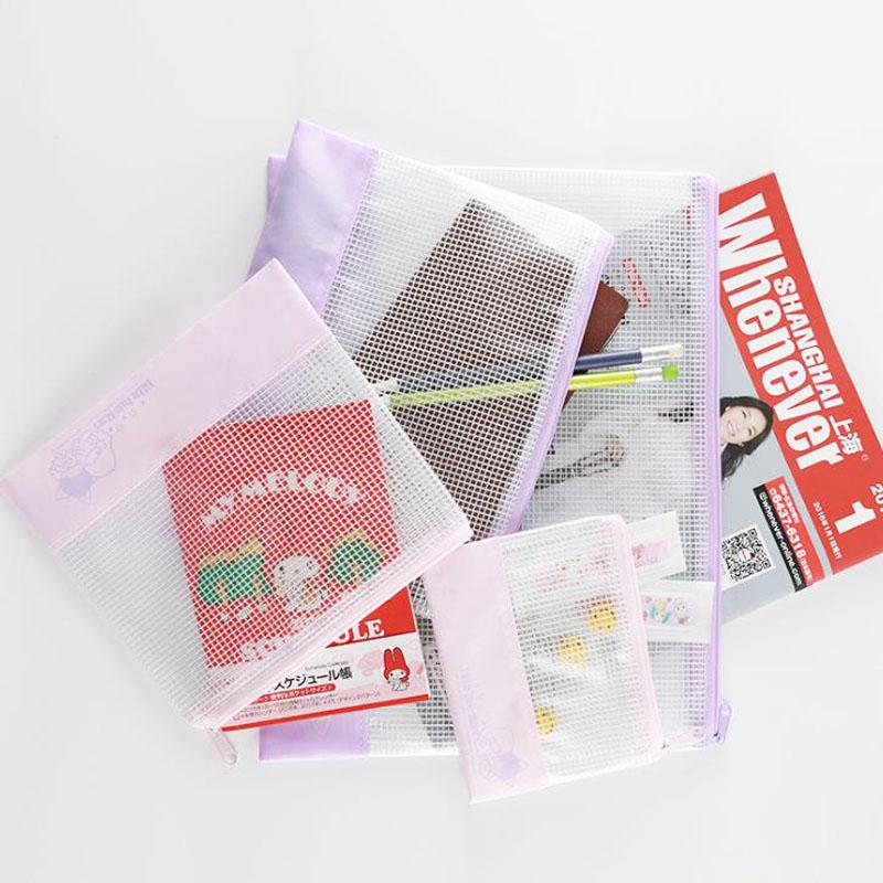 [해외]1 PC의 귀여운 트윈 별 A5 / B5 보라색 파일 가방 문서 가방 파일 폴더 방수 메쉬 투명 가방 학교 사무실 공급/1 Pcs Cute Twin Stars A5/B5 Purple File Bag Document Bag File Folder Waterproof
