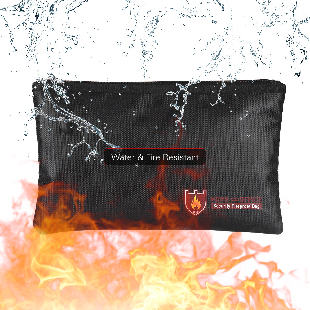 [해외]문서 가방 내화 실리콘 코팅 유리 섬유 가방 돈 주머니 홀더 물 & amp; 내화성 지퍼 클로저 파일 보관/Document Bag Fireproof Silicone Coated Fiberglass Bag Money Pouch Holder Water &am
