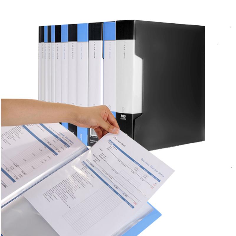 [해외]20/30/40/60/100 포켓 비즈니스 A4 용지 프리젠 테이션 책자 크기 삽입물 파일 투명 문서보기 보호 사무소/20/30/40/60/100 Pocket Business A4 Sheet Presentation Book Letter Size Inserts F