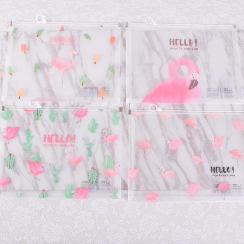 [해외]1Pcs Cartoon Pink Flamingo A4 PVC 투명한 가장자리 서류 가방 사무실 & amp; 학교 용품 024/1Pcs  Cartoon Pink Flamingo A4  PVC Transparent Edge File Bag Office &am