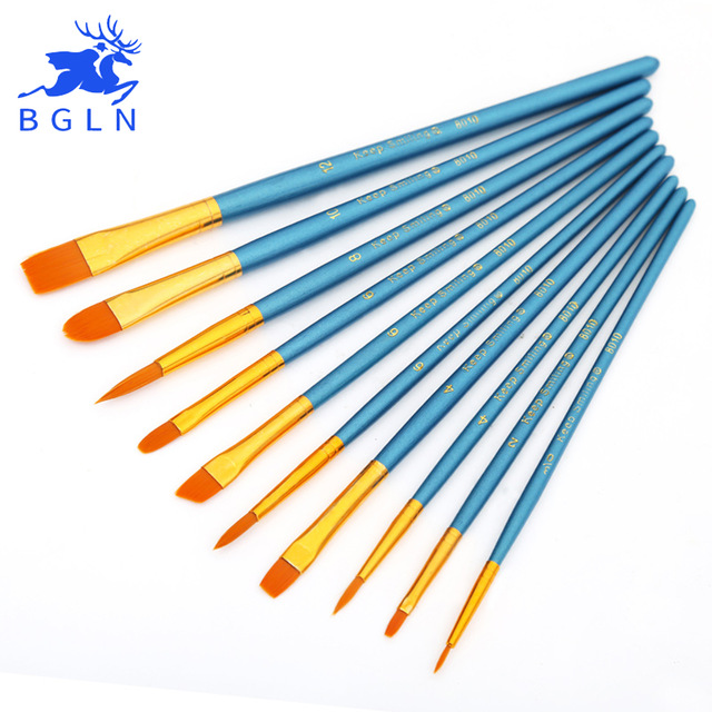 [해외]BGLN 10Pcs / Set 나일론 헤어 수채화 물감 구 아슈 페인트 브러쉬 다른 모양 라운드 지적 팁 페인팅 브러쉬 세트 미술 용품/BGLN 10Pcs/Set Nylon Hair Watercolor Gouache Paint Brushes Different S