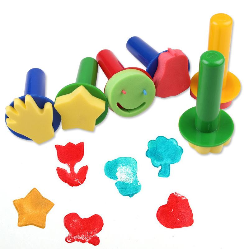 [해외]6Pcs 크리 에이 티브 세트 어린이 스폰지 우표 어린이 회화 낙서 장난감 플라스틱 손잡이 그리기 인감 브러시 드로잉 장난감/6Pcs Creative Set for Kids Sponge Stamp Children Painting Graffiti Toys Plas