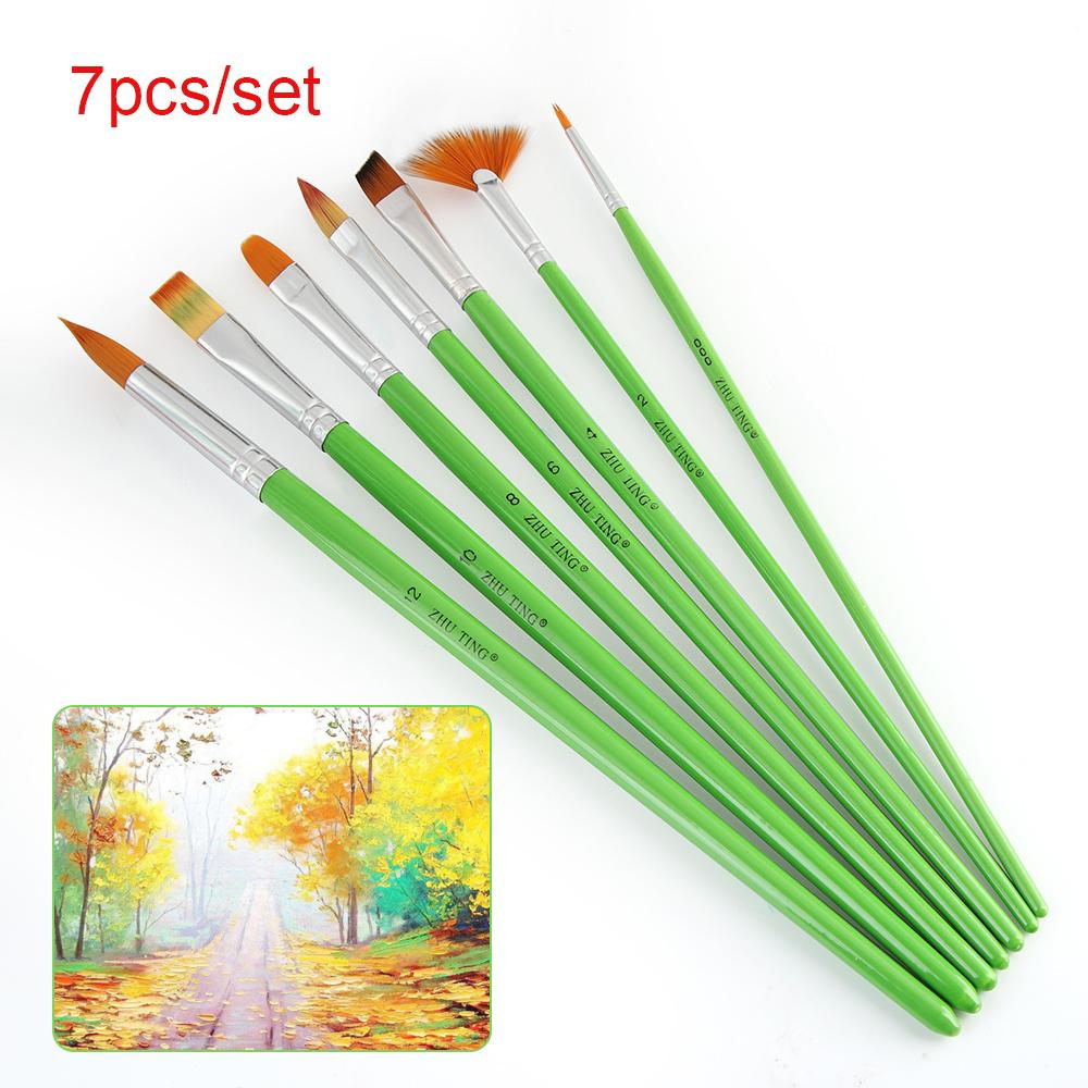 [해외]7pcs / set 다른 모양 나일론 머리 페인트 브러시 세트 녹색 나무 손잡이 구 아슈 수채화 유화 브러쉬 세트 아크릴 아트/7pcs/set Different Shape Nylon Hair Paint Brush Set Green Wooden Handle Gou