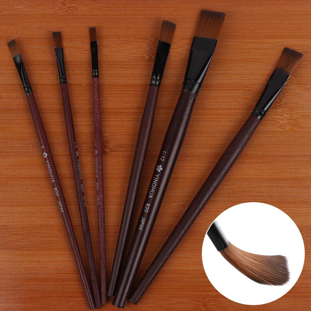 [해외]6 조각 패션 나일론 머리카락 페인트 브러시 나무 손잡이 구 아슈 수채화 유화 브러쉬 아트 용품 다른 모양/6Pcs Fashion Nylon Hair Paint Brush Wooden Handle Gouache Watercolor Oil Painting Brus