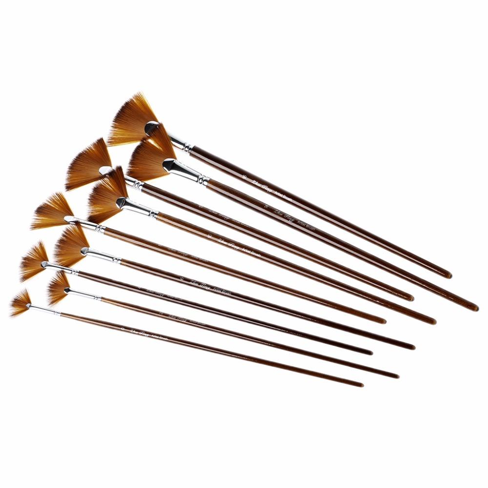 [해외]나일론 헤어 아크릴 수채화 아트 용품 9PCS 팬 모양의 브러쉬 페인팅 펜 세트/9Pcs Fan Shape Brush Painting Pen Set Nylon Hair Acrylic Watercolor Art Supplies