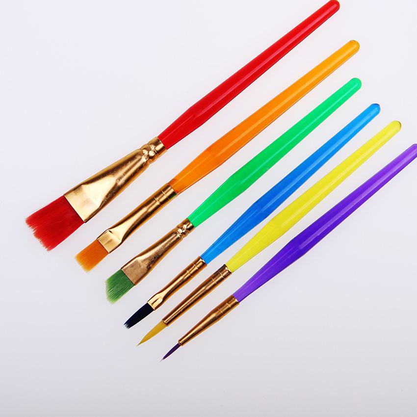[해외]6 개의 Pcs / 세트 다채로운 끝 편평한 아이 페인트 Brushe 플라스틱 손잡이 나일론 페인트 솔은 그림 공급을 그리기 놓았다/6 Pcs/Set Colorful Tip Flat Child Paint Brushe Plastic Handle Nylon Pain
