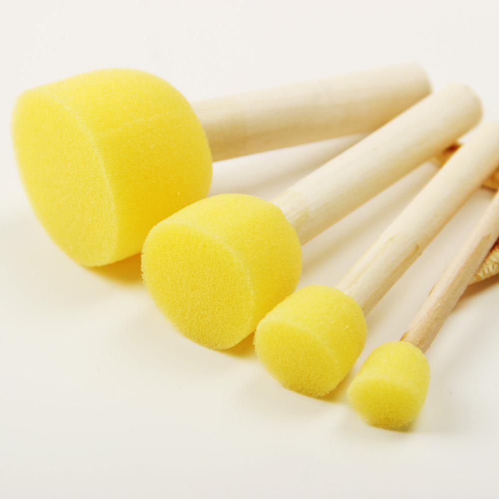 [해외]4Pcs / Set Kid Sponge 페인트 브러시 원래 나무 손잡이 어린이 그림 낙서 4 크기 어린이 조기 학습 장난감/4Pcs/Set Kid Sponge Paint Brush Original Wooden Handle Children Painting Graf
