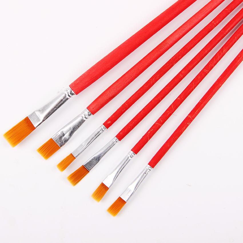 [해외]6 PC / 세트 어린이 학생 수채화 물감 구 아슈 페인트 펜 나일론 헤어 레드 나무 손잡이 페인트 브러시 세트 그림 미술 용품/6 Pcs/Set Kids Student Watercolor Gouache Painting Pen Nylon Hair Red Wood