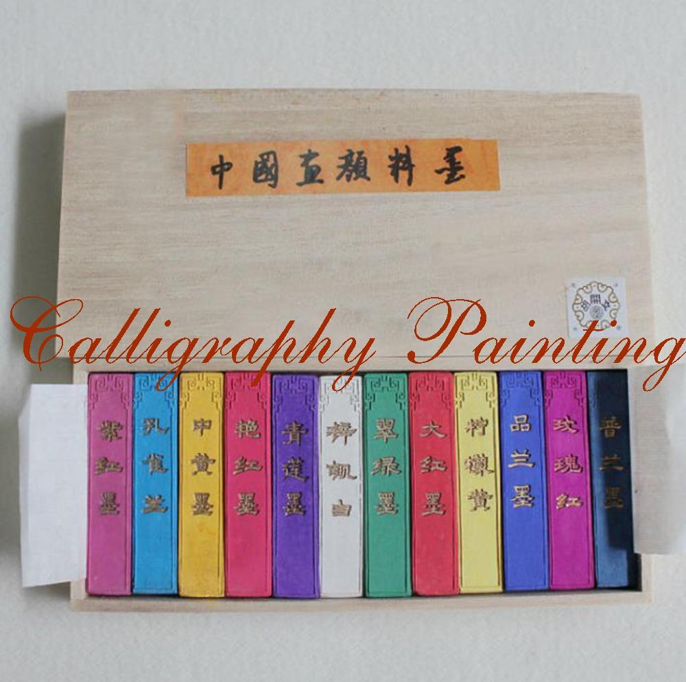 [해외]12pcs 어 회화 서예 잉크 스틱 HuiMo 12 색 안료 잉크 스틱 세트/12pcs Chinese Painting calligraphy Ink Stick HuiMo 12 Color Pigment Inkstick set