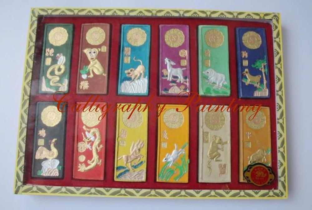[해외] 달필 회화 12 개의 동물 색깔 12 PC / Box Set 잉크 스틱 Japaese/Chinese Calligraphy Painting Ink Stick Twelve Animals Colour 12 PC/Box Set Inkstick Japaese