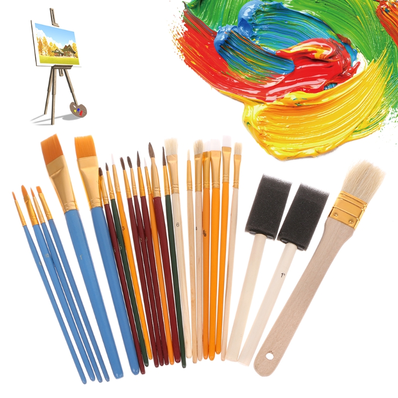 [해외]25pcs 전문 페인트 브러시 세트 나일론 머리 기름 수채화 물감 펜 아트 용품/25pcs Professional Paint Brush Set Nylon Hair Oil Watercolor Pen Art Supplies