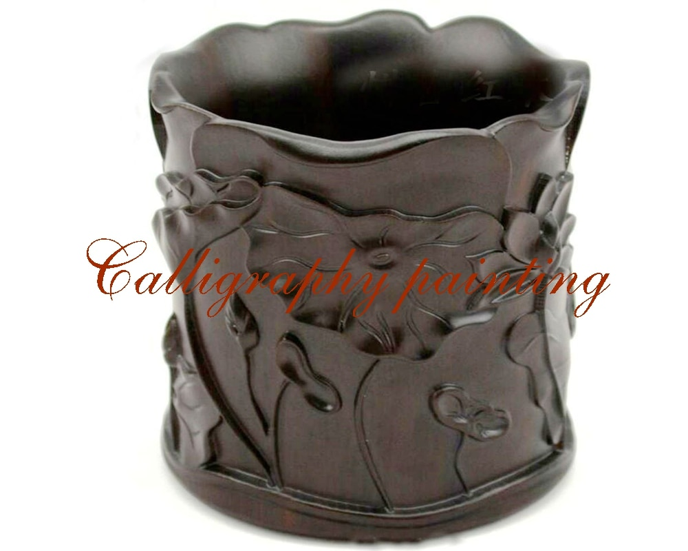 [해외]? 조각 잉크 서예 브러쉬 주전자 컨테이너/ China Carving Wood Ink Painting Calligraphy Brush Pot Container
