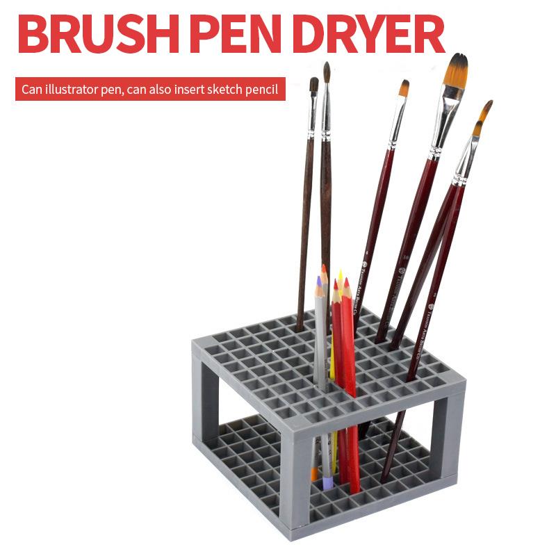 [해외]96 구멍 회색 Penholder 스퀘어 페인팅 브러쉬 스탠드 브러시 연필 페인팅 그리기 학교 공급 아티스트 페인트/96 Holes Grey Penholder Square Painting Brush Stand Brush Pencil Painting supplie