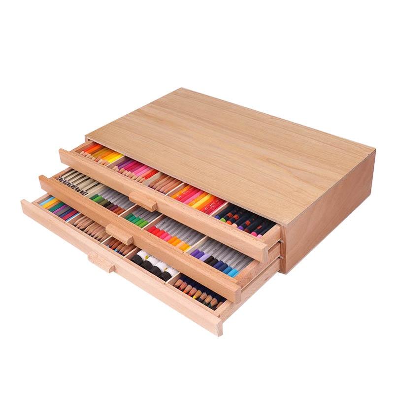 [해외]아티스트 테이블 탑 나무 데스크탑 휴대용 이젤 너도밤 나무 그림 그리기 BoxThree 레이어 서랍 페인트 하드웨어 아트 용품/Artist Tabletop Wooden Desktop Portable Easel Beech Painting BoxThree Layer