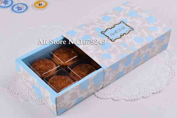 [해외]13 * 19cm * 5cmGilding 결혼식과 축제 party100pcs 용 포장 6 셀 50g 블루 월병 종이 상자 비스킷 케이크 상자를 스탬핑 / 많은/13*19cm*5cmGilding stamping 6cell 50g blue mooncake paper