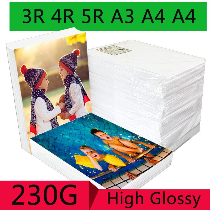 [해외]100 매 3R 4R 5R A3 A4 A5 고광택 포토 용지 (잉크젯 프린터 용) 사진관 사진 용 이미징 용지/100 Sheets 3R 4R 5R A3 A4 A5 High Glossy Photo Paper For Inkjet Printer Photo studio