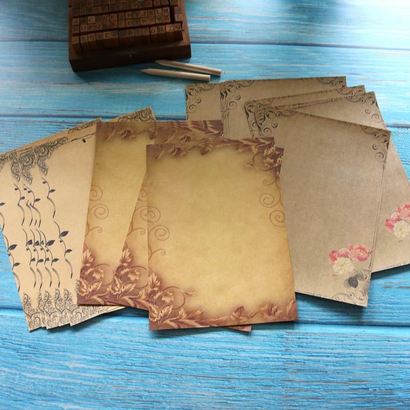 [해외]Kraft 갈색 편지 16sheets 빈티지 꽃 디자인 레터 헤드 쓰기 종이 스케치 패드 편지지 회색 /Kraft Brown Letter 16sheets Vintage Flower Design Letterhead Writing Paper Drawing Sketc