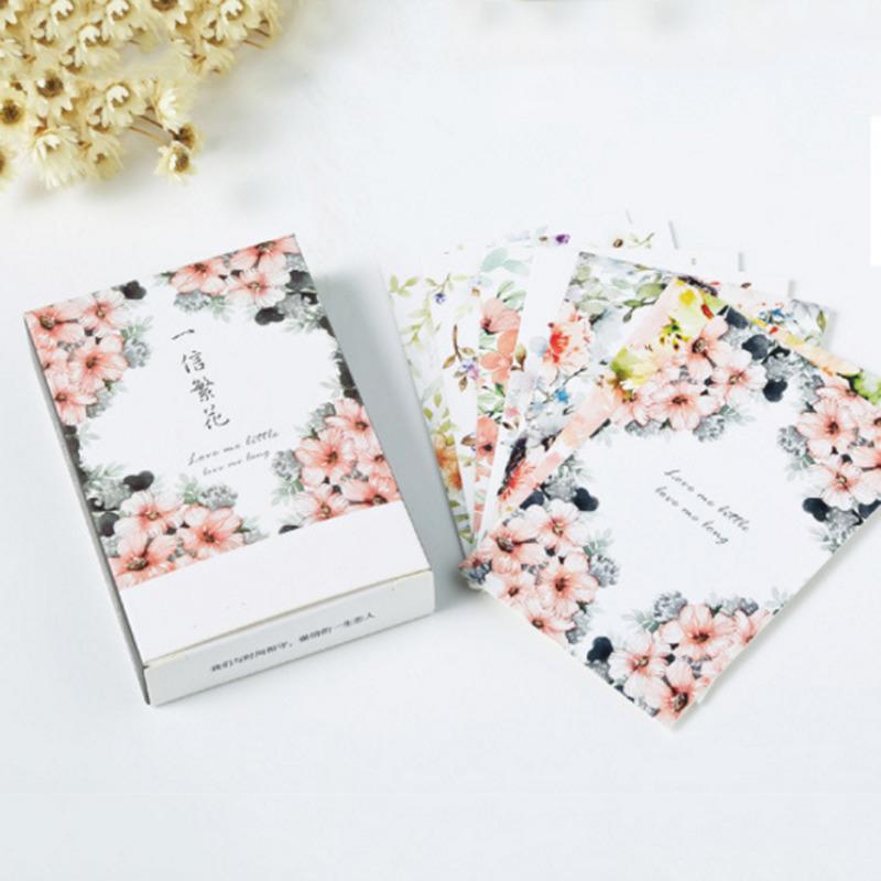 [해외]30pcs 로맨틱 꽃 편지 용지 인사말 카드 미니 엽서 고정식 생일 선물 메시지 쓰기/30pcs Romantic Flowers Letter Paper Set Greeting Card Mini Postcard Stationary Birthday Gifts Mess