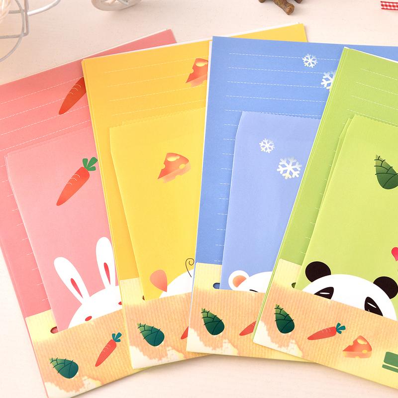 [해외]2018 파펠 만화 동물 수집 레터 패드 PaperEnvelope 6 매 세트 용지 + 세트 3 개 세트 문구류/2018 Papel Cartoon Animals Collection Letter Pad PaperEnvelope 6 Sheets Paper+3 Pcs