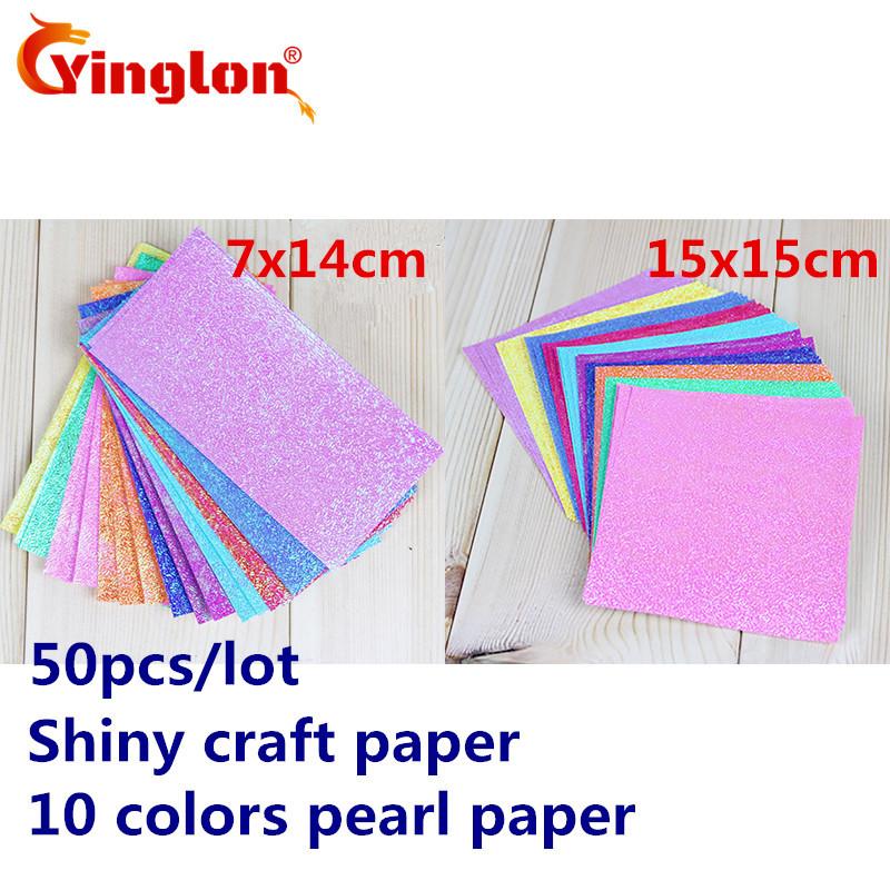 [해외]50pcs / lot 대량 팩 반짝 이는 공예 종이 10 색 진주 종이 크레인 종이 접기 아이 핸드 메이드 아이 DIY 종이 접기 접는 자료/50pcs/lot bulk pack shiny craft paper 10 colors pearl paper cranes