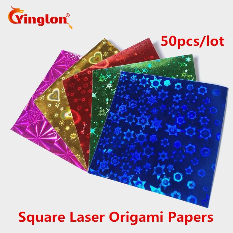 [해외]50pcs / lot 반짝이 5 색 사각형 레이저 종이 크레인 종이 접기 어린이 수제 scrapbooking 장식 DIY 공급 접는 자료/50pcs/lot shiny 5 colors square laser papers cranes origami child han