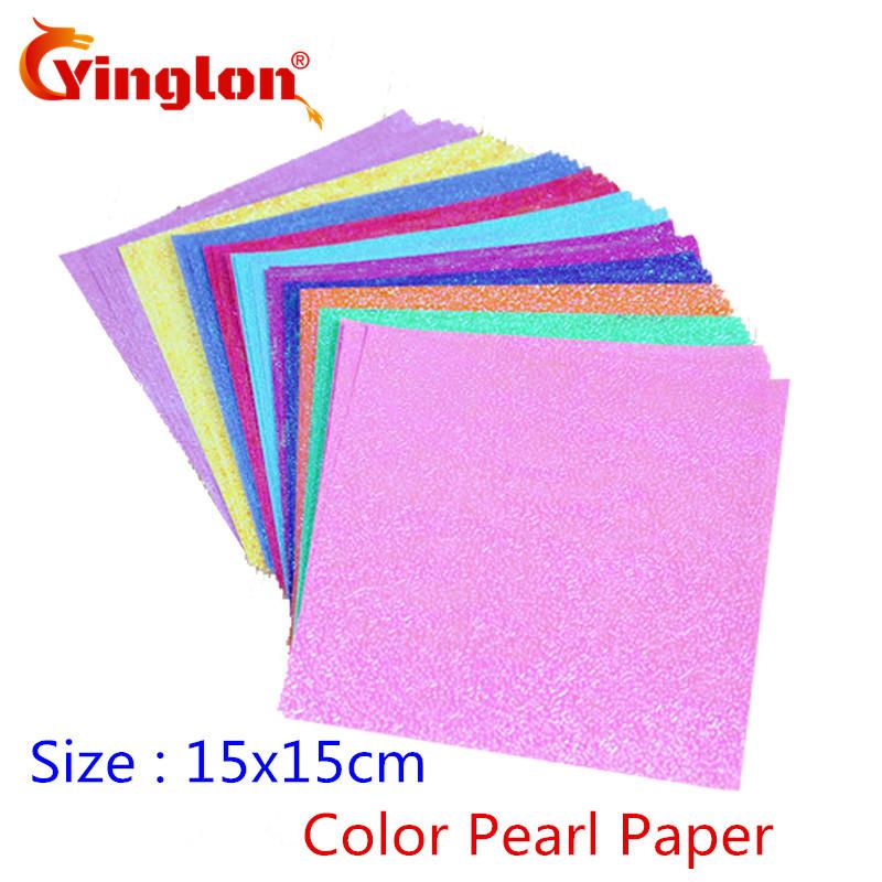 [해외]50pcs / lot 15x15cm 광장 반짝 이는 공예 종이 10 색 진주 종이 크레인 종이 접기 아이 핸드 메이드 아이 DIY 종이 접기 접는 자료/50pcs/lot 15x15cm Square shiny craft paper 10 colors pearl pa