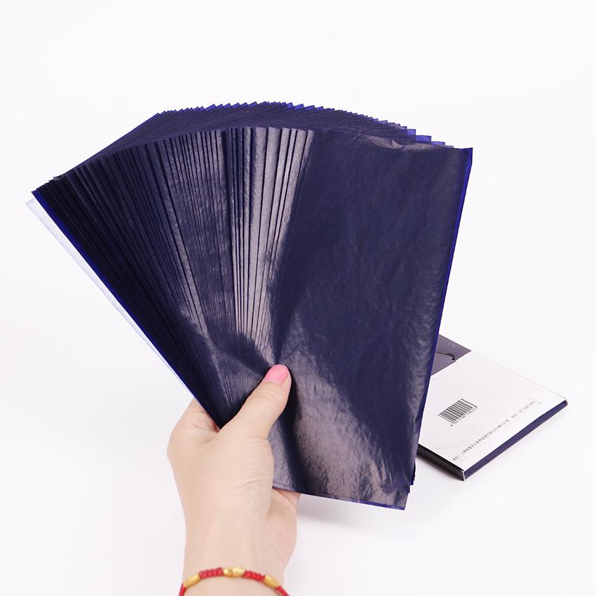 [해외]50PCS 블루 더블 양면 카본 용지 48K 얇은 타입 편지지 종이 금융 사무용품/50PCS Blue Double Sided Carbon Paper 48K Thin Type Stationery Paper Finance Office Supplies