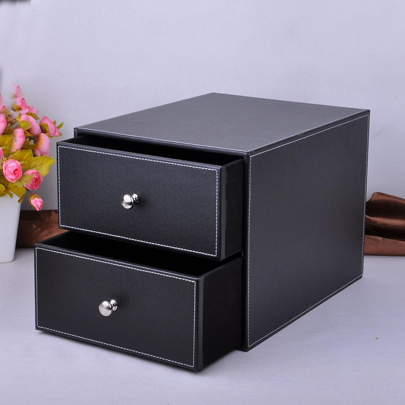 [해외]더블 레이어 더블 서랍 나무 구조 가죽 책상 제출 캐비닛 스토리지 박스 오피스 주최자 문서 컨테이너 검은 색/double layer double drawer wood structure leather desk filing cabinet storage box off